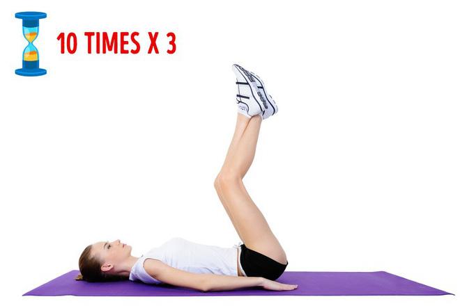Nâng chân lên cao giảm béo bụng rất tốt